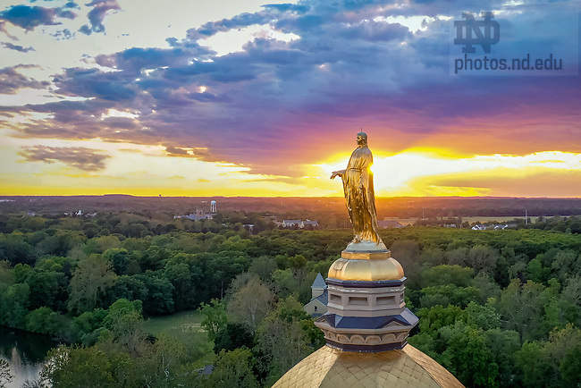 June 11, 2020; Aerial of Mary statue on the Golden Dome (Photo by Matt Cashore/University of Notre Dame)