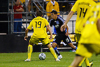 27 MAY 2009: #19 Robbie Rogers, Columbus Crew forward and #15 Shea Salinas of the San Jose Earthquakes in action during the San Jose Earthquakes at Columbus Crew MLS game in Columbus, Ohio on May 27, 2009. The Columbus Crew defeated San Jose 2-1