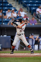 Aberdeen Ironbirds Ian Evans (36) at bat during a NY-Penn League game against the Staten Island Yankees on August 22, 2019 at Richmond County Bank Ballpark in Staten Island, New York.  Aberdeen defeated Staten Island 4-1 in a rain shortened game.  (Mike Janes/Four Seam Images)