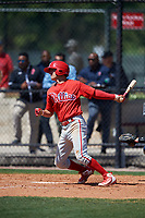 Philadelphia Phillies Dalton Guthrie (4) during a Minor League Spring Training game against the Pittsburgh Pirates on March 23, 2018 at the Carpenter Complex in Clearwater, Florida.  (Mike Janes/Four Seam Images)