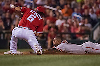 6 August 2016: San Francisco Giants third baseman Eduardo Nunez slides safely into third with his second triple of the game in the top of the 5th inning against the Washington Nationals at Nationals Park in Washington, DC. The Giants defeated the Nationals 7-1 to even their series at one game apiece. Mandatory Credit: Ed Wolfstein Photo *** RAW (NEF) Image File Available ***