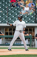 Irving Falu (4) of the Louisville Bats at bat against the Charlotte Knights at BB&T BallPark on May 12, 2015 in Charlotte, North Carolina.  The Knights defeated the Bats 4-0.  (Brian Westerholt/Four Seam Images)