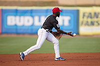 Tennessee Smokies shortstop Delvin Zinn (3) on defense against the Chattanooga Lookouts at Smokies Stadium on July 31, 2021, in Kodak, Tennessee. (Brian Westerholt/Four Seam Images)