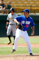 Justin Hampson #45 of the Las Vegas 51s pitches against the Salt Lake Bees at Cashman Field on May 27, 2013 in Las Vegas, Nevada. Las Vegas defeated Salt Lake, 9-7. (Larry Goren/Four Seam Images)