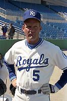 Kansas City Royals first baseman George Brett does an interview during spring training circa 1989 at Baseball City Stadium in Davenport, Florida.  (MJA/Four Seam Images)