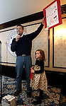 Gov. Brian Sandoval announces the winners in the Governor's Constitution Poster and Essay Contest at the Governor's Mansion in Carson City, Nev. on Saturday, Oct. 27, 2012. Hannah Bigrigg, 5, of Fernley, was one of the poster winners in the annual Nevada Day event. .Photo by Cathleen Allison