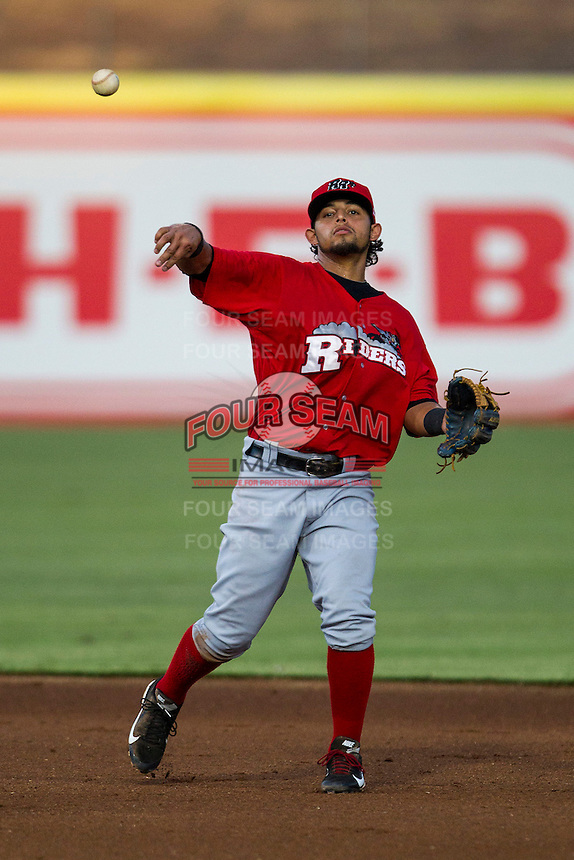 Frisco Roughriders second baseman Rougned Odor (10) makes a throw to first base in the Texas League baseball game against the San Antonio Missions on August 22, 2013 at the Nelson Wolff Stadium in San Antonio, Texas. Frisco defeated San Antonio 2-1. (Andrew Woolley/Four Seam Images)