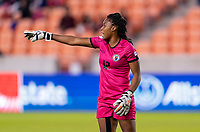 HOUSTON, TX - JANUARY 31: Kerly Theus #12 of Haiti yells to her team during a game between Haiti and Costa Rica at BBVA Stadium on January 31, 2020 in Houston, Texas.