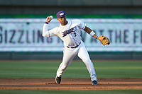 Winston-Salem Dash third baseman Yeyson Yrizarri (2) makes a throw to first base against the Frederick Keys at BB&T Ballpark on April 26, 2019 in Winston-Salem, North Carolina. The Keys defeated the Warthogs 7-0. (Brian Westerholt/Four Seam Images)