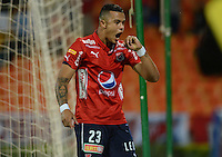 MEDELLIN-COLOMBIA, 10-08-2016. Leonardo Castro jugador del Deportivo Independiente Medellin de Colombia celebra su gol contra el equipo de La Universidad Católica de Ecuador durante el encuentro de La Copa Sudamericana  disputado en el estadio Atanasio Girardot./ Leonardo Castro player of Mdellin celebrates his goal against Universidad Catoica of Ecuador match for Sudamericana Cup 2016 played at Atanasio Girardot stadium . Photo:VizzorImage / León Monsalve / Contribuidor