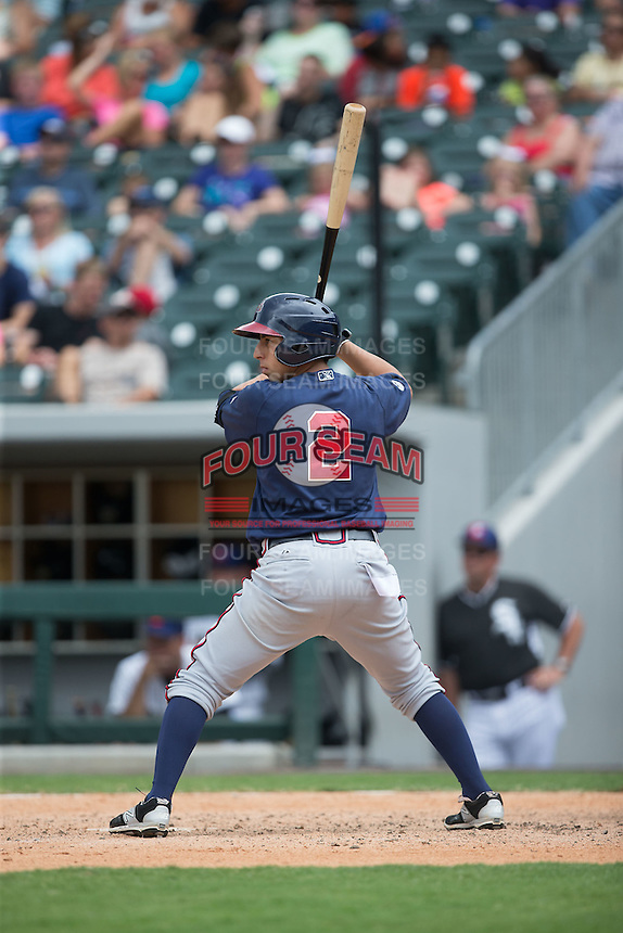 Daniel Castro (2) of the Gwinnett Braves at bat against the Charlotte Knights at BB&T BallPark on July 3, 2015 in Charlotte, North Carolina.  The Braves defeated the Knights 11-4 in game one of a day-night double header.  (Brian Westerholt/Four Seam Images)