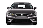 Car photography straight front view of a 2017 Seat Leon-ST FR 5 Door Wagon Front View