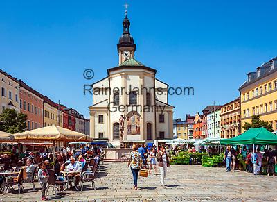 Deutschland, Bayern, Chiemgau, Traunstein: Bauernmarkt auf dem Stadtplatz | Germany, Upper Bavaria, Chiemgau, Traunstein: farmer's market at Town Square