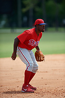 GCL Phillies third baseman D.J. Stewart (10) during a game against the GCL Tigers East on July 25, 2017 at TigerTown in Lakeland, Florida.  GCL Phillies defeated the GCL Tigers East 4-1.  (Mike Janes/Four Seam Images)