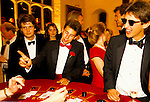 MALE REVELERS PLAYING BLACKJACK AT GAMING TABLE, CIRENCESTER BALL, 1990,
