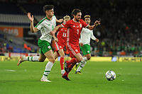 Callum O'Dowda of Republic of Ireland vies for possession with Joe Allen of Wales during the UEFA Nations League B match between Wales and Ireland at Cardiff City Stadium in Cardiff, Wales, UK.September 6, 2018