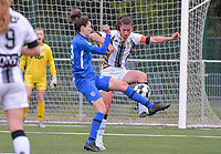 forward Gwen Duijsters (13) of KRC Genk pictured fighting for the ball with Noemie Fourdin (22) of Sporting Charleroi during a female soccer game between  Racing Genk Ladies and Sporting Charleroi on the 9 th matchday of play off 2 in the 2020 - 2021 season of Belgian Scooore Womens Super League , saturday 22 nd of May 2021  in Genk , Belgium . PHOTO SPORTPIX.BE | SPP | STIJN AUDOOREN