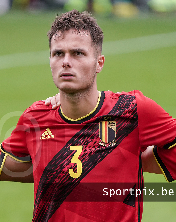 Belgium's Belgium's Zinho Verheusden (3) pictured during national anthem before a soccer game between the national teams Under21 Youth teams of Belgium and Germany on the 5th matday in group 9 for the qualification for the Under 21 EURO 2021 , on tuesday 8 th of September 2020  in Leuven , Belgium . PHOTO SPORTPIX.BE | SPP | SEVIL OKTEM