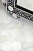 7 cm Hex in Calacatta Radiance Honed.