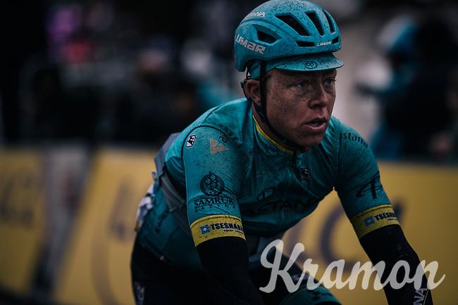 Michael Valgren (DEN/Astana) rolling in at the finish<br /> <br /> 76th Paris-Nice 2018<br /> Stage 7: Nice > Valdeblore La Colmiane (175km)