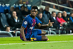 Ousmane Dembele of FC Barcelona reacts sitting on the pitch during the UEFA Champions League 2017-18 Round of 16 (2nd leg) match between FC Barcelona and Chelsea FC at Camp Nou on 14 March 2018 in Barcelona, Spain. Photo by Vicens Gimenez / Power Sport Images