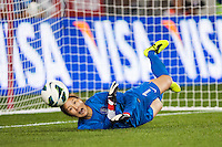 Korea Republic (KOR) goalkeeper Kim Jungmi (1) dives for a shot. The women's national team of the United States defeated the Korea Republic 5-0 during an international friendly at Red Bull Arena in Harrison, NJ, on June 20, 2013.