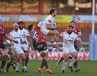 26th March 2021; Kingsholm Stadium, Gloucester, Gloucestershire, England; English Premiership Rugby, Gloucester versus Exeter Chiefs; Facundo Cordero of Exeter Chiefs catches the ball under pressure from Louis Rees-Zammit of Gloucester