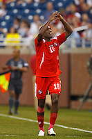 7 June 2011: Panama forward Lluis Tejada (18) celebrates his goal during the CONCACAF soccer match between Panama and Guadeloupe at Ford Field Detroit, Michigan.