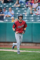 Steven Duggar (14) of the Sacramento River Cats during the game against the Salt Lake Bees at Smith's Ballpark on May 17, 2018 in Salt Lake City, Utah. Salt Lake defeated Sacramento 12-11. (Stephen Smith/Four Seam Images)