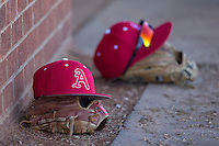 A Belmont Abbey Crusaders caps sit on top of gloves prior to the game against the against the Shippensburg Raiders at Abbey Yard on February 8, 2015 in Belmont, North Carolina.  The Raiders defeated the Crusaders 14-0.  (Brian Westerholt/Four Seam Images)