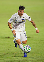 CARSON, CA - OCTOBER 18: Cristian Pavon #10 of the Los Angeles Galaxy moves with the ball during a game between Vancouver Whitecaps and Los Angeles Galaxy at Dignity Heath Sports Park on October 18, 2020 in Carson, California.
