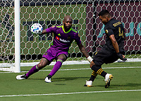 LOS ANGELES, CA - AUGUST 22: Kenneth Vermeer #1 GK and Eddie Segura #4 of LAFC defending a loose ball during a game between Los Angeles Galaxy and Los Angeles FC at Banc of California Stadium on August 22, 2020 in Los Angeles, California.