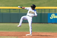 Mesa Solar Sox center fielder Luis Barrera (7), of the Oakland Athletics organization, celebrates after hitting a double during an Arizona Fall League game against the Salt River Rafters at Sloan Park on October 30, 2018 in Mesa, Arizona. Salt River defeated Mesa 14-4 . (Zachary Lucy/Four Seam Images)