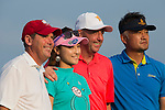 (L-R) Rich Beem, Cindy Lee, Gary McAllister, and Cao Weiyu at the end of their game during the World Celebrity Pro-Am 2016 Mission Hills China Golf Tournament on 23 October 2016, in Haikou, Hainan province, China. Photo by Victor Fraile / Power Sport Images