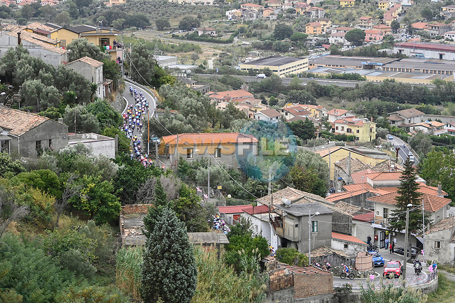 The peloton in action during Stage 5 of the 103rd edition of the Giro d'Italia 2020 running 225km from Mileto to Camigliatello Silano, Sicily, Italy. 7th October 2020.  <br /> Picture: LaPresse/Fabio Ferrari | Cyclefile<br /> <br /> All photos usage must carry mandatory copyright credit (© Cyclefile | LaPresse/Fabio Ferrari)
