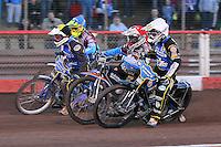 Heat 6: Peter Karlsson (red), Rory Schlein (white), Kim Nilsson (blue) and Sebastian Alden - Vortex Lakeside Hammers vs Kings Lynn Stars - Sky Sports Elite League Speedway at Arena Essex Raceway, Purfleet - 23/04/13 - MANDATORY CREDIT: Gavin Ellis/TGSPHOTO - Self billing applies where appropriate - 0845 094 6026 - contact@tgsphoto.co.uk - NO UNPAID USE.