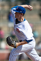 South Bend Cubs pitcher Riley Thompson (36) delivers a pitch to the plate against the Lake County Captains on May 30, 2019 at Four Winds Field in South Bend, Indiana. The Captains defeated the Cubs 5-1.  (Andrew Woolley/Four Seam Images)