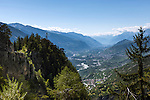 Switzerland, Canton Valais, near Leuk: view into Rhone Valley | Schweiz, Kanton Wallis, bei Leuk: Blick ins Rhonetal