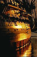 USS Constitution, hull with guns, sunrise, Charlestown, MA  Navy Yard