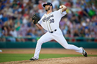 Kane County Cougars relief pitcher Lane Ratliff (30) delivers a pitch during a game against the West Michigan Whitecaps on July 19, 2018 at Northwestern Medicine Field in Geneva, Illinois.  Kane County defeated West Michigan 8-5.  (Mike Janes/Four Seam Images)