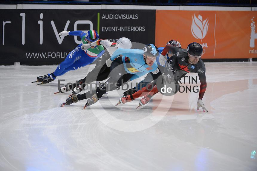 SPEEDSKATING: DORDRECHT: 07-03-2021, ISU World Short Track Speedskating Championships, QF 1000m Men, Stijn Desmet (BEL), Maxime Laoun (CAN), ©photo Martin de Jong