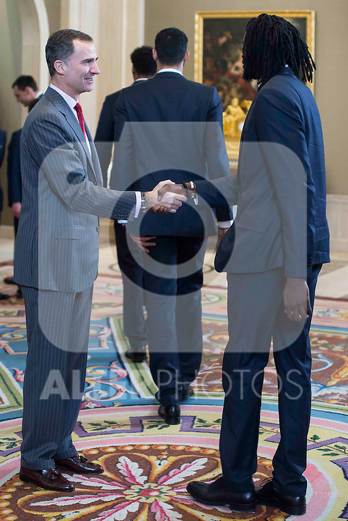 King Felipe VI of Spain and Ndour during audience to the champion  of the 80th edition of the cup of your R.M. The King, Real Madrid Basketball at Zarzuela Palace in Madrid. February 25, 2016 (ALTERPHOTOS/BorjaB.Hojas)