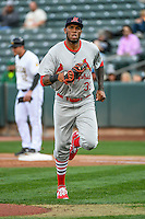 David Washington (39) of the Memphis Redbirds during the game against the Salt Lake Bees in Pacific Coast League action at Smith's Ballpark on May 24, 2016 in Salt Lake City, Utah. The Bees defeated the Redbirds 7-5. (Stephen Smith/Four Seam Images)