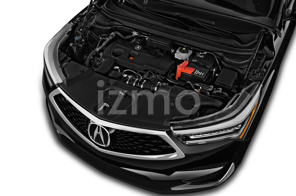 Car stock 2020 Acura RDX RDX 5 Door SUV engine high angle detail view