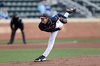 CHAPEL HILL, NC - FEBRUARY 27: Griff McGarry #25 of Virginia throws a pitch during a game between Virginia and North Carolina at Boshamer Stadium on February 27, 2021 in Chapel Hill, North Carolina.