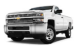Stock pictures of low aggressive front three quarter view of a 2015 Chevrolet Silverado 2500 Hd Work Truck Regular Cab Lwb 2 Door Pickup 2WD Low Aggressive