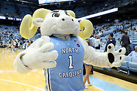 CHAPEL HILL, NC - NOVEMBER 06: University of North Carolina mascot Rameses poses during a game between Notre Dame and North Carolina at Dean E. Smith Center on November 06, 2019 in Chapel Hill, North Carolina.