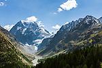 Switzerland, Canton Valais, Evolène - district Arolla: summer and winter resort at the end of the Val d'Hérens, at background summit Mont Collon (3.637 m ) and Bas Glacier d'Arolla (lower Arolla Glacier) | Schweiz, Kanton Wallis, Evolène - Ortsteil Arolla: Sommer- und Winterferienort im oberen Talabschluss des Val d'Hérens (Eringertal), im Hintergrund der Mont Collon (3.637 m ) und der Untere Arollagletscher