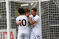 Jess Randall of Hawke's Bay United celebrates a goal with team mates during the ISPS Handa Men's Premiership - Team Wellington v Hawke's Bay United at David Farrington Park, Wellington on Saturday 21 November 2020.<br /> Copyright photo: Masanori Udagawa /  www.photosport.nz