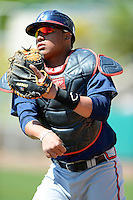 Atlanta Braves catcher Carlos Sanchez #40 during practice before a minor league Spring Training game against the Philadelphia Phillies at Al Lang Field on March 14, 2013 in St. Petersburg, Florida.  (Mike Janes/Four Seam Images)